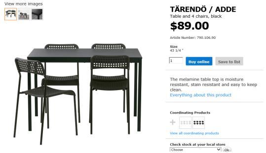 이케아 식탁, 의자세트 판매합니다.